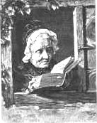 An Old Lady Reading in the Window of her Home, by G.Woltze, 1872